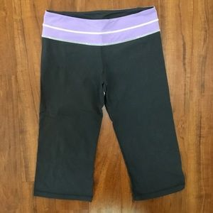 Lululemon Dark Gray Crop Yoga Pants Purple Waist
